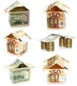 House made of money set — Stock Photo