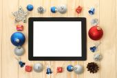 Tablet PC with Christmas decorations — Foto de Stock