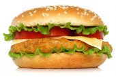 Big chicken hamburger — Stock Photo