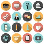 Flat round business and marketing web icons — Stock Vector