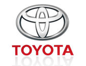 Toyota logo printed on paper and placed on white background — Stockfoto
