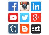 紙に印刷された人気のソーシャル メディアのロゴ集 — ストック写真