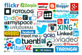 Collection of popular social media logos printed on paper — Stock Photo