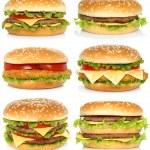 Set of big hamburgers — Stock Photo #76379485