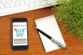 Smart phone with online shopping concept — Stock Photo