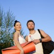 Woman and man in sports clothes — Stock Photo #61531971