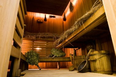 Traditional russian wooden bath