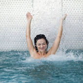Woman in the pool — Stock Photo