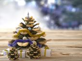 Christmas cone with gifts on wood texture concept holiday background — Stock Photo