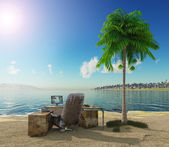 Conception vacation background with office table and landscape — Stock Photo