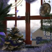 Christmas tree with pine cone,window and clock concept interior composition — Photo