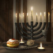 Hanukkah background with candles, donuts, spinning top — Stock Photo