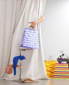Shopping woman holding bag sale conceptual background — Stockfoto