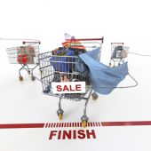 Shopping sale concept background with shopping trolley — Stock Photo