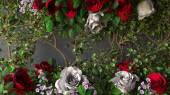 Flowers rose holiday background on gray wall — Stock Photo