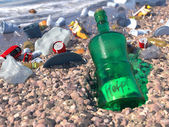 Garbage on the sea beach ecologic concept background — Stock Photo