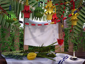 Symbols of the Jewish holiday Sukkot with palm leaves and candle — Stock Photo