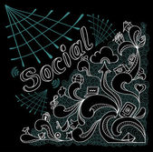 Social webs in doodle style on black background — Stock Vector
