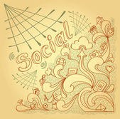 Social webs in doodle style on beige background — Stock Vector