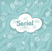 Abstract social cloud in doodle style on blue background — Stock Vector