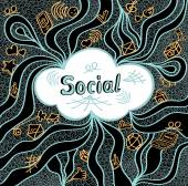 Abstract social cloud in doodle style on black background — Stock Vector