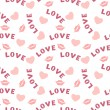 Seamless pattern with hearts lips and inscription love on white — Cтоковый вектор #60832741