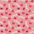 Seamless pattern with hearts lips and inscription love on pink — Stok Vektör #60832751