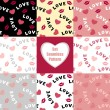 Set Seamless pattern with hearts lips  and inscription love — Cтоковый вектор #60912579