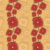Seamless pattern with Abstract doodle square flowers red beige — Stock Vector