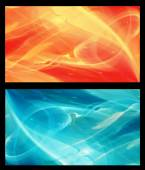 Two Abstract Fractal horizontal backgrounds cosmic light in  ice blue and in orange — Stock Photo