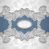 Vintage background with seamless pattern in silver blue — Vector de stock