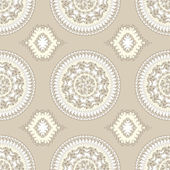 Seamless pattern with circle ornament  in beige — Stock Vector