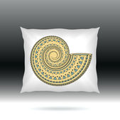White Pillow with ornament shell — Stock Vector