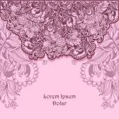 Template with doodle flowers  lace in pink lilac — Stock vektor
