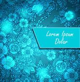 Šablona s doodle květiny a světlem v modrém — Stock vektor