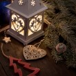 Christmas lantern with decorations — Stock Photo #56619681
