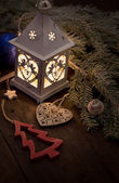 Christmas lantern with decorations — Stock Photo