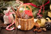 Various Christmas treats and decorations — Stock Photo