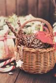Festive basket of gifts in retro style — Stock Photo