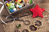 Hand crafted holiday ornaments — Stock Photo