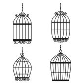 Silhouette birdcages collection set. — Stock Vector