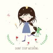 Princess and froggie illustration. — Stock vektor