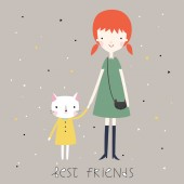 Best friends background or card. — Stock Vector