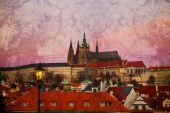 Purple sunrise over Prague Castle (vintage image) — Stock Photo