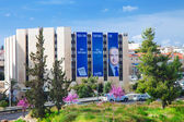 Election billboards in Jerusalem in the middle of spring bloomin — Stock Photo