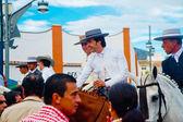 Classic riders at fair — Stock Photo