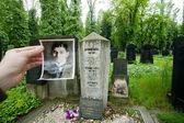 人気作家フランツ ・ カフカの古い写真と墓の石 — ストック写真