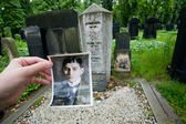 Old portraite and grave stone of popular writer Franz Kafka — Stock Photo