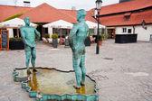 Sculptor David Cerny's sculpture - Men pee — Stock Photo