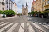Pedestrian crossing opposite the church built in 1911 — Stock Photo